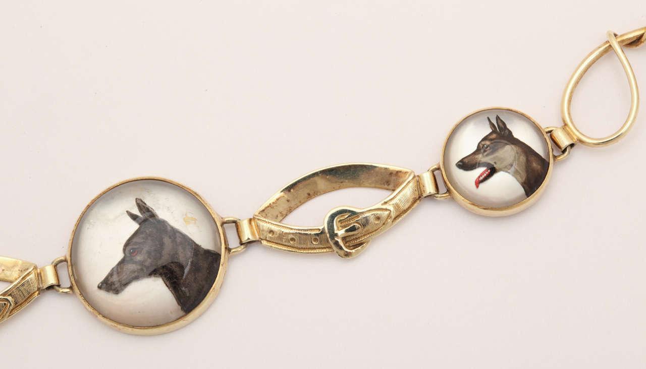 Hunting Dog Reverse Crystal Intaglio Bracelet For Sale 1
