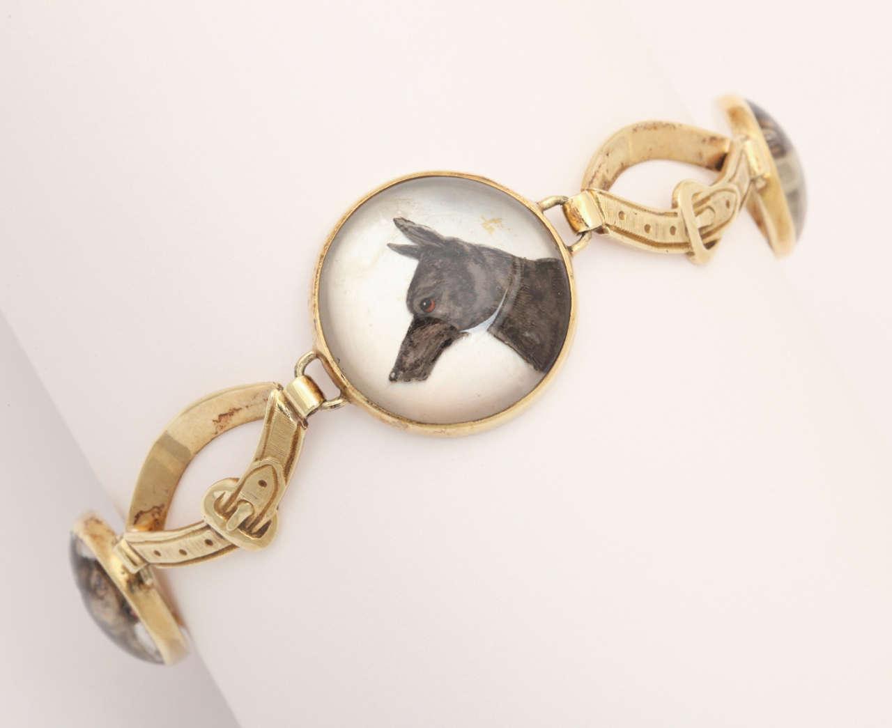 Hunting Dog Reverse Crystal Intaglio Bracelet For Sale 3