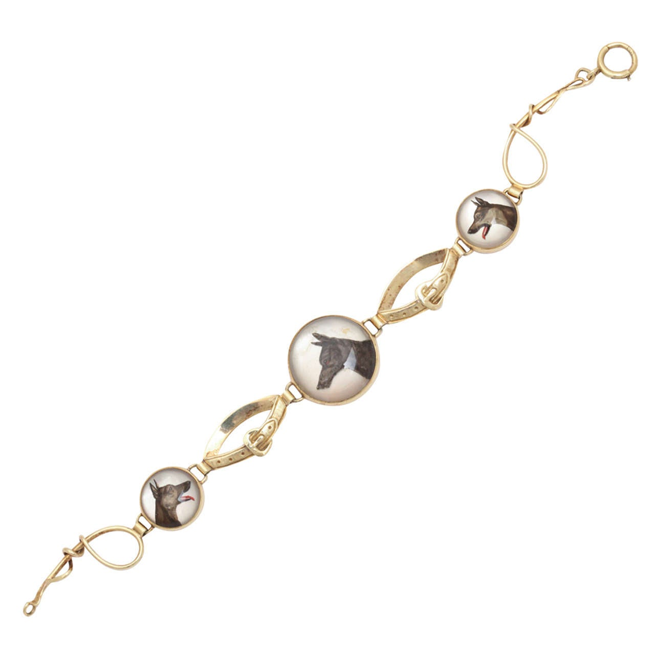 Hunting Dog Reverse Crystal Intaglio Bracelet