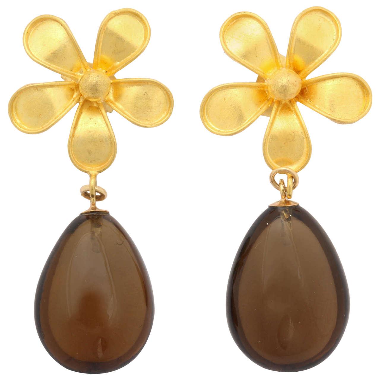 Smoky Quartz High Carat Gold Drop Earrings