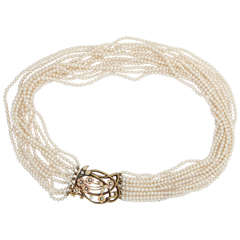 Elegant Multistrand Pearl Gold Floral Clasp Necklace