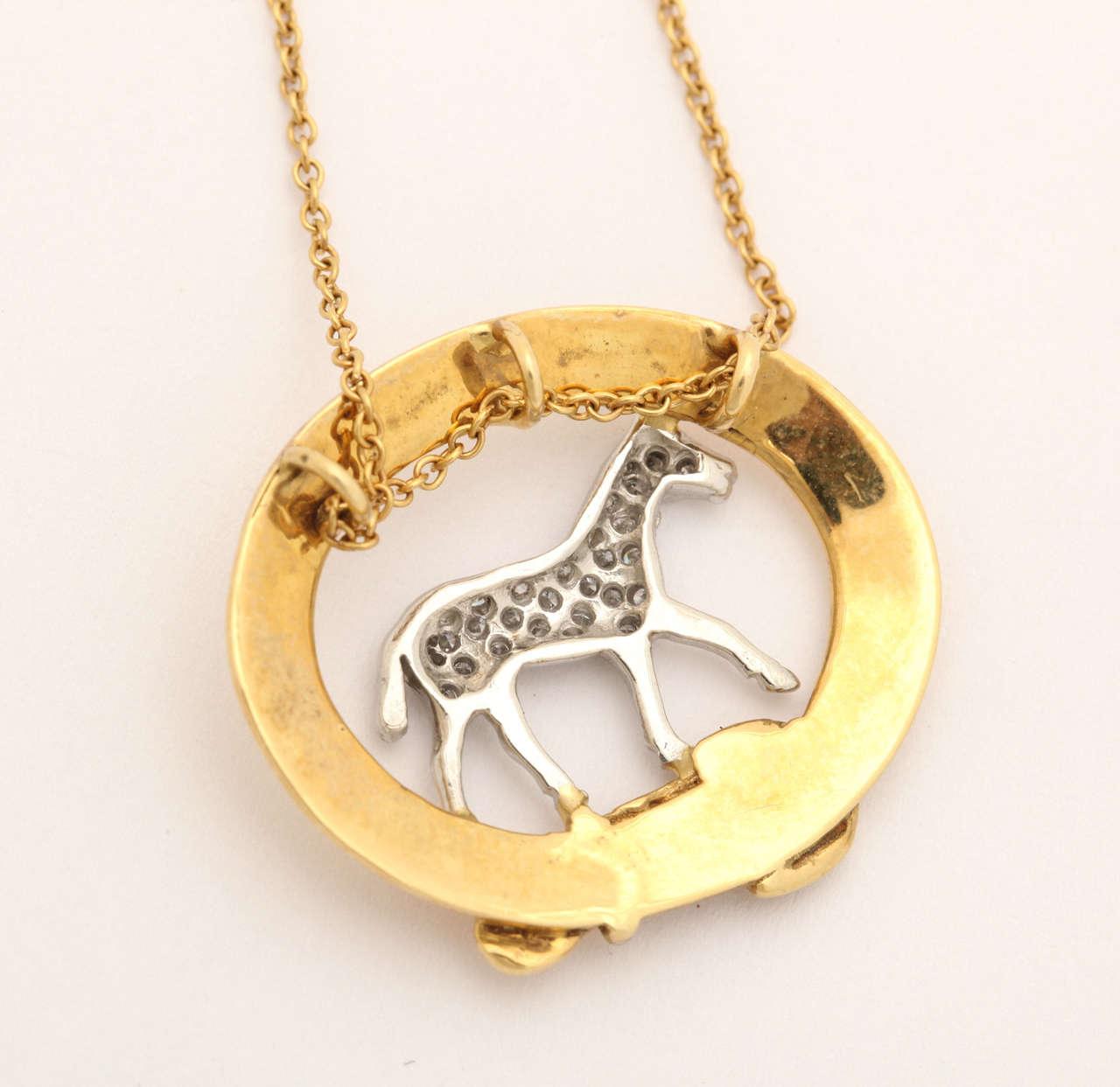 Contemporary Diamond Equestrian Horse Pendant For Sale