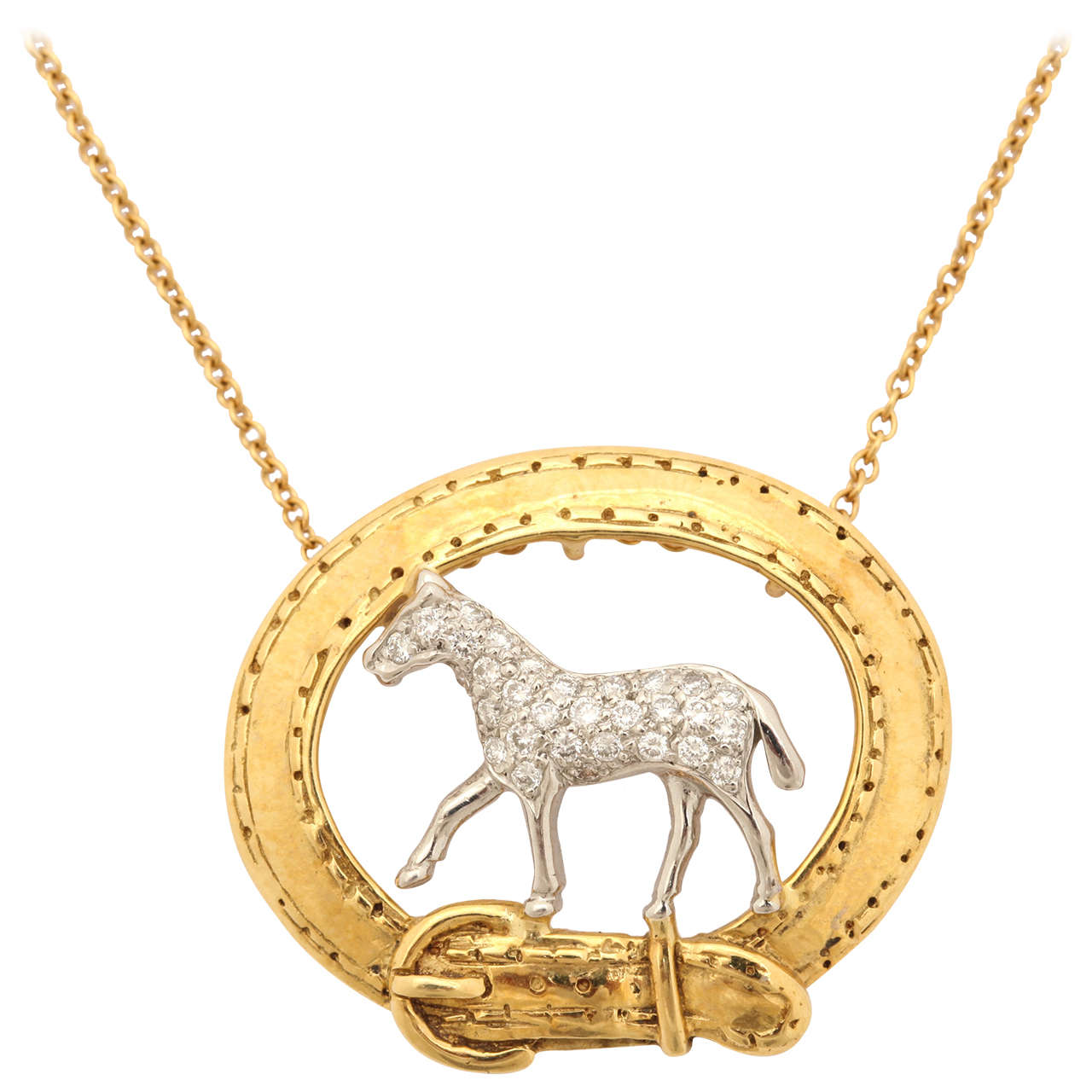 Diamond platinum horse head equestrian pendant for sale at 1stdibs diamond equestrian horse pendant aloadofball Choice Image