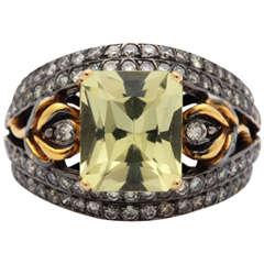 Lovely Scapolite Diamond Ring