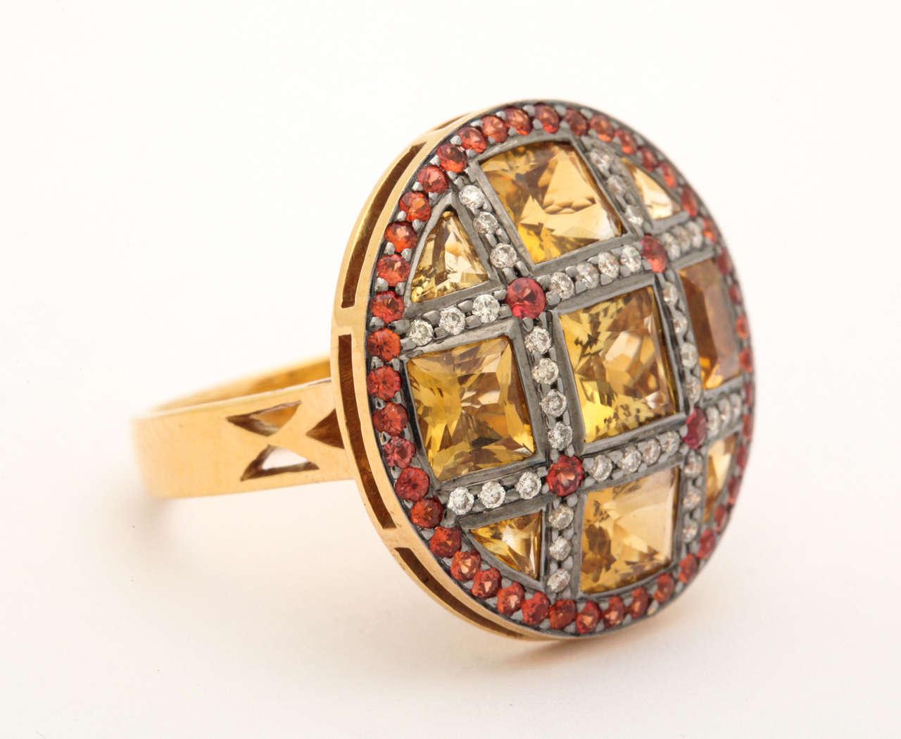 Citrine Red Sapphire Diamond Gold Ring 2