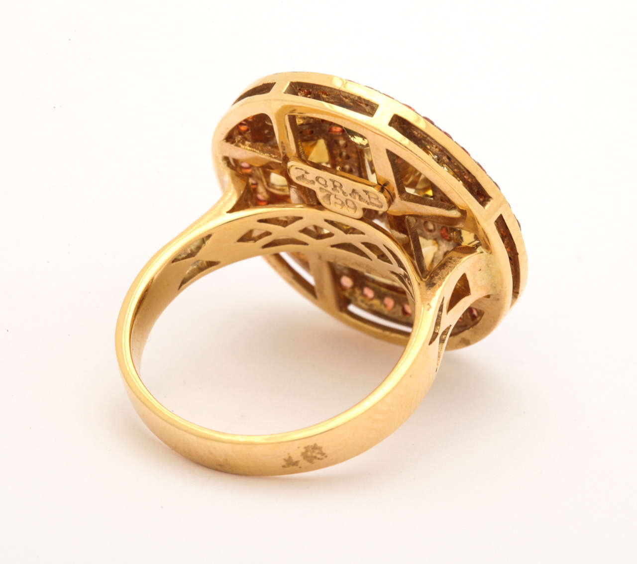 Citrine Red Sapphire Diamond Gold Ring 3