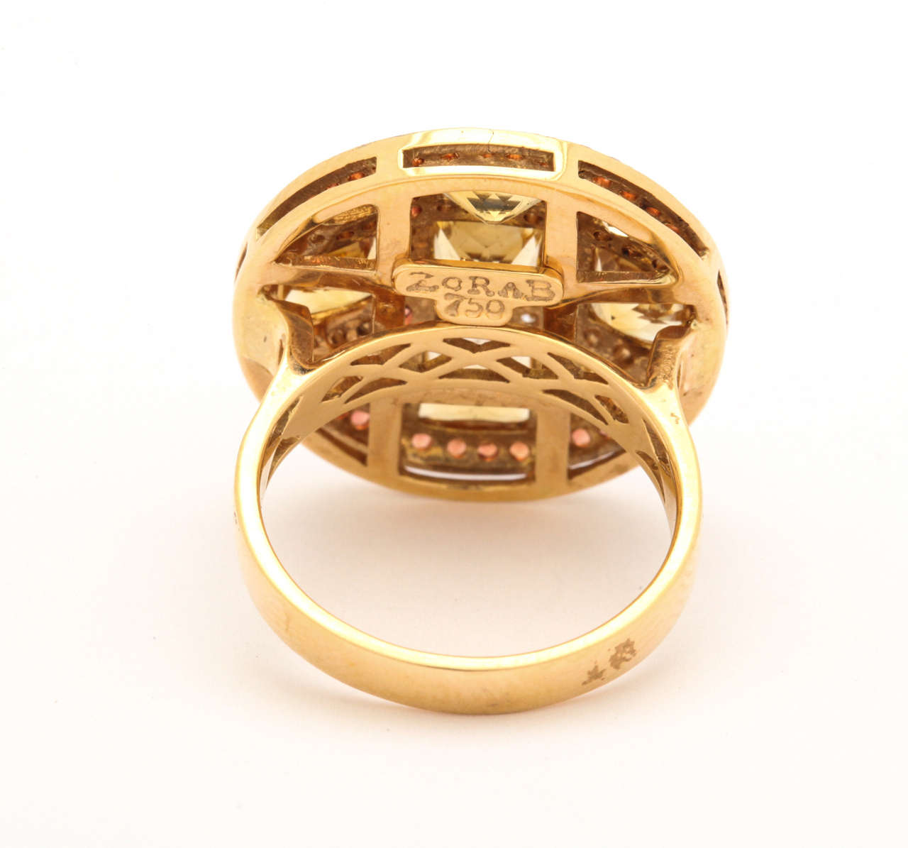 Citrine Red Sapphire Diamond Gold Ring 4