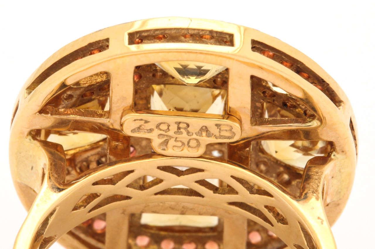 Citrine Red Sapphire Diamond Gold Ring 5