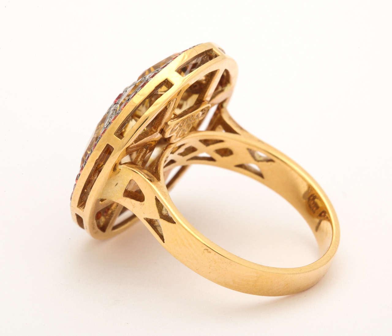 Citrine Red Sapphire Diamond Gold Ring 6
