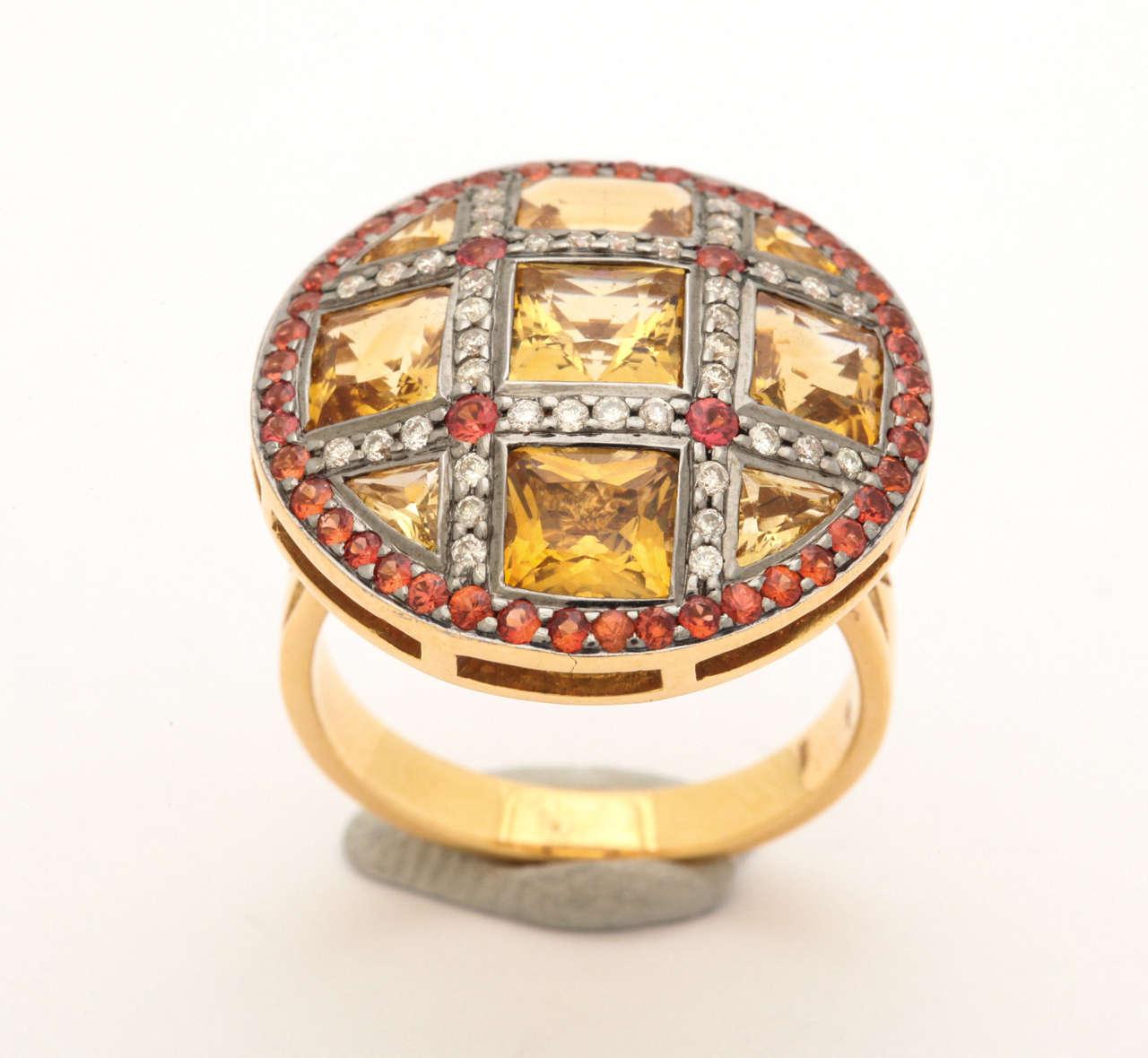 Citrine Red Sapphire Diamond Gold Ring 7