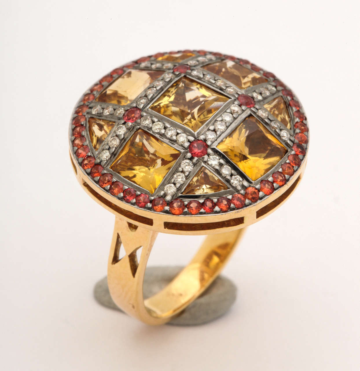 Citrine Red Sapphire Diamond Gold Ring 8