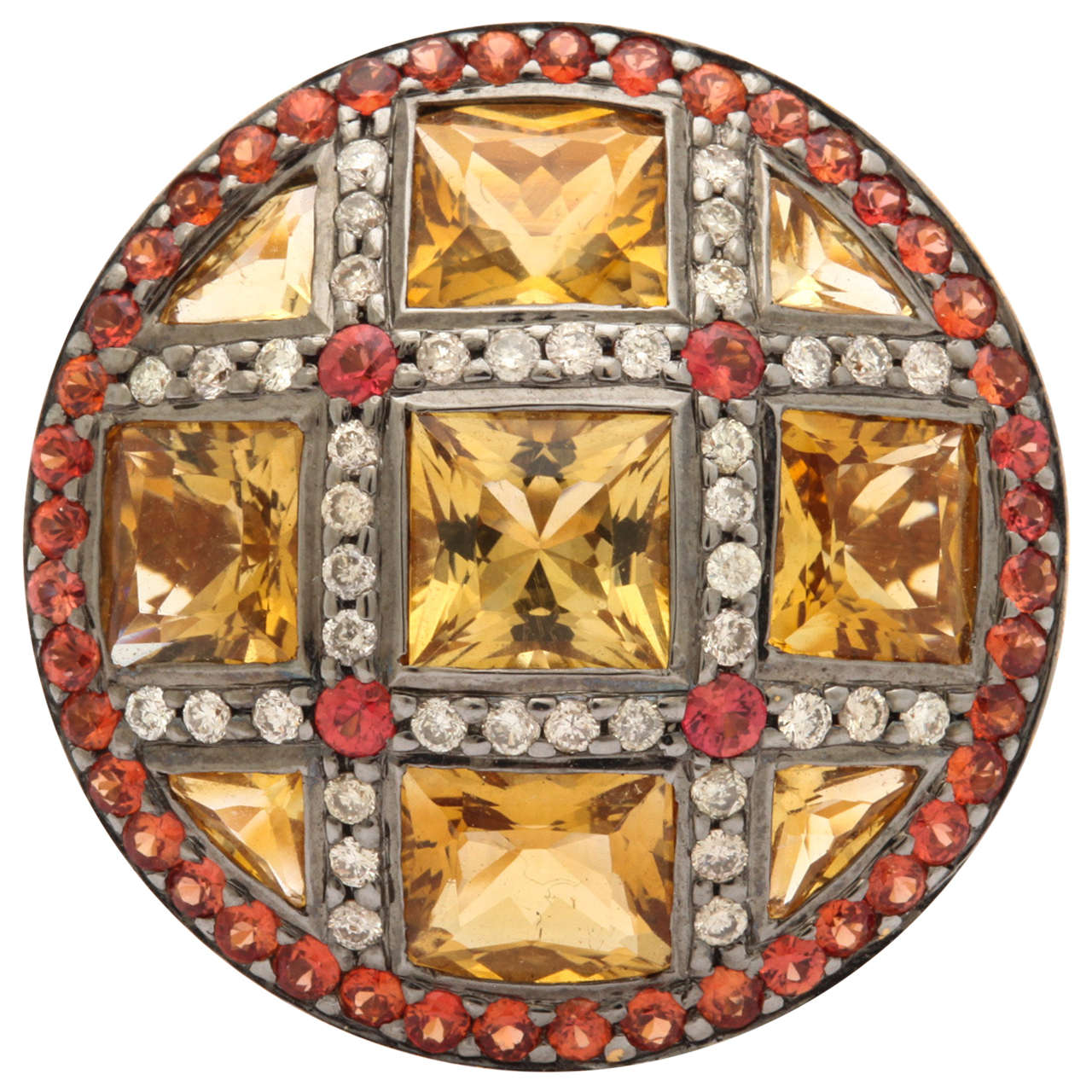 Citrine Red Sapphire Diamond Gold Ring