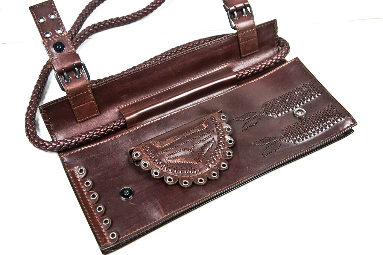 Embossed Leather YSL Brown Leather Purse Presented by Carol Marks ...