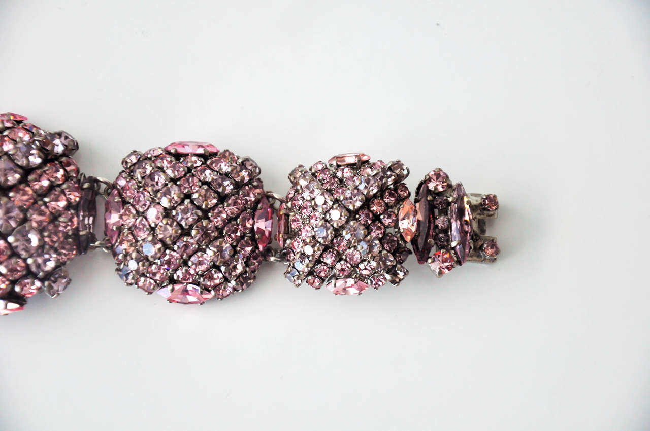 French Pastel Rhinestone Bracelet Attributed to Roger Jean-Pierre 5