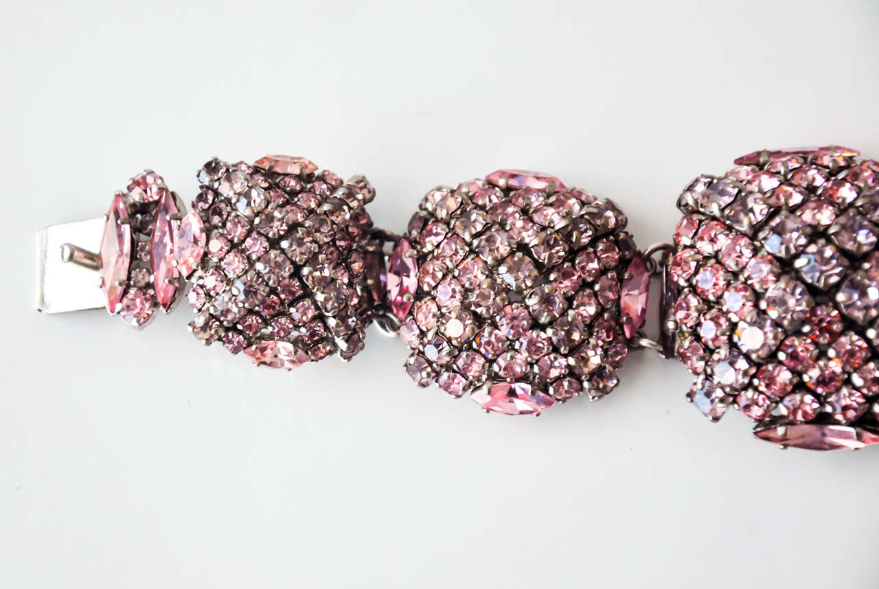 French Pastel Rhinestone Bracelet Attributed to Roger Jean-Pierre 6