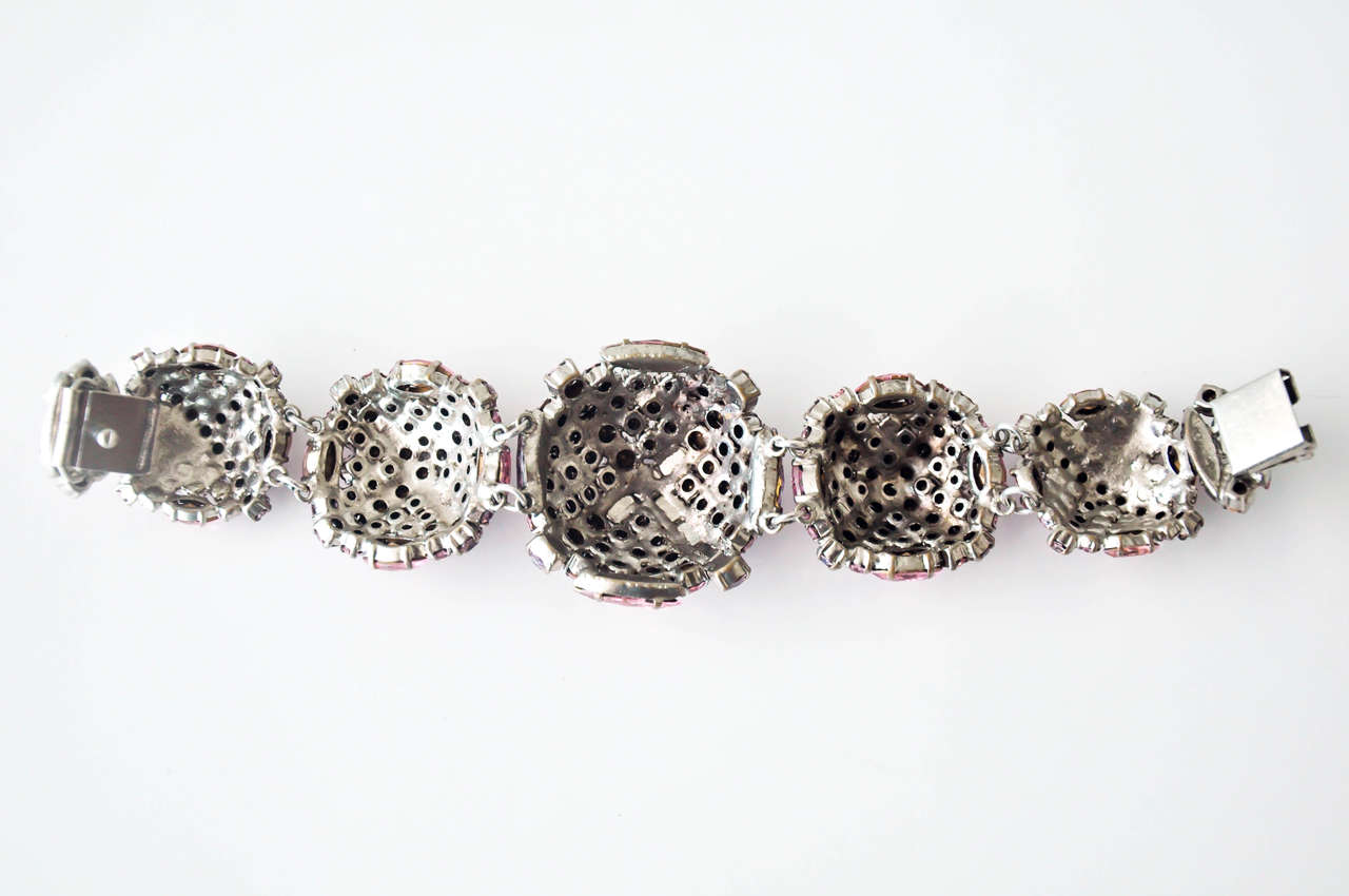 French Pastel Rhinestone Bracelet Attributed to Roger Jean-Pierre 9