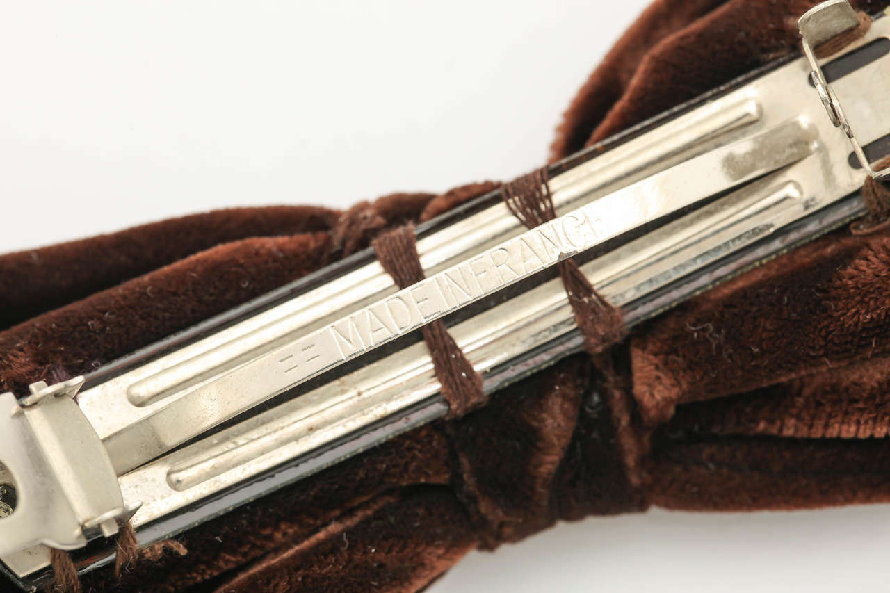 Chanel CC Large Brown Velvet Bow Hair Clip 5