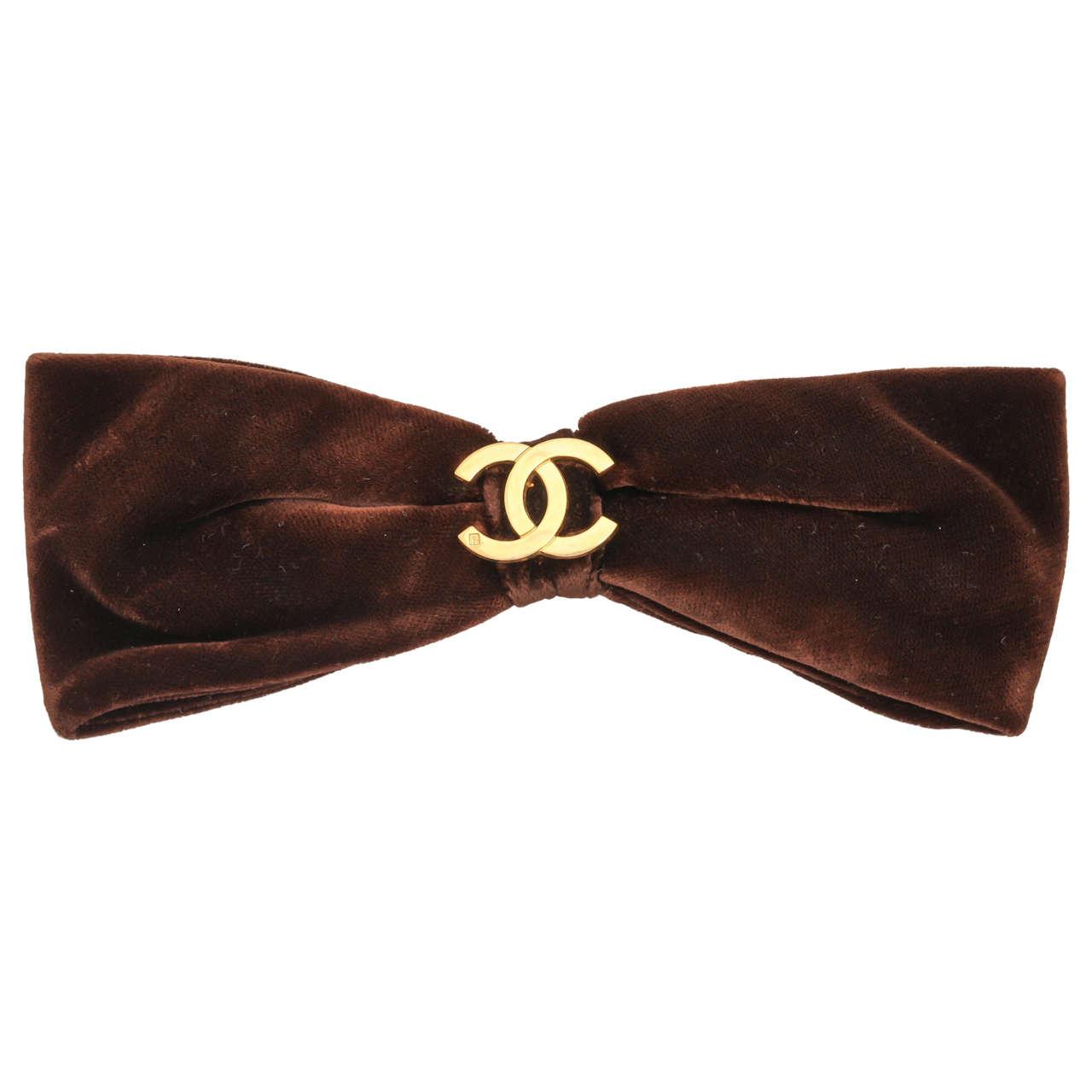 Chanel CC Large Brown Velvet Bow Hair Clip 1