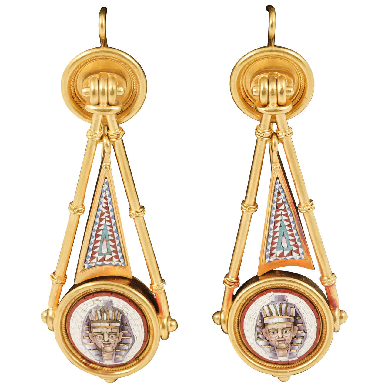 Victorian Micro Mosaic Egyptian Gold Earrings For