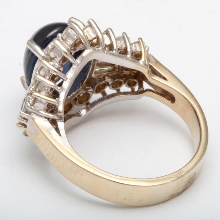 Women's Cabochon Sapphire & Diamond Ring For Sale