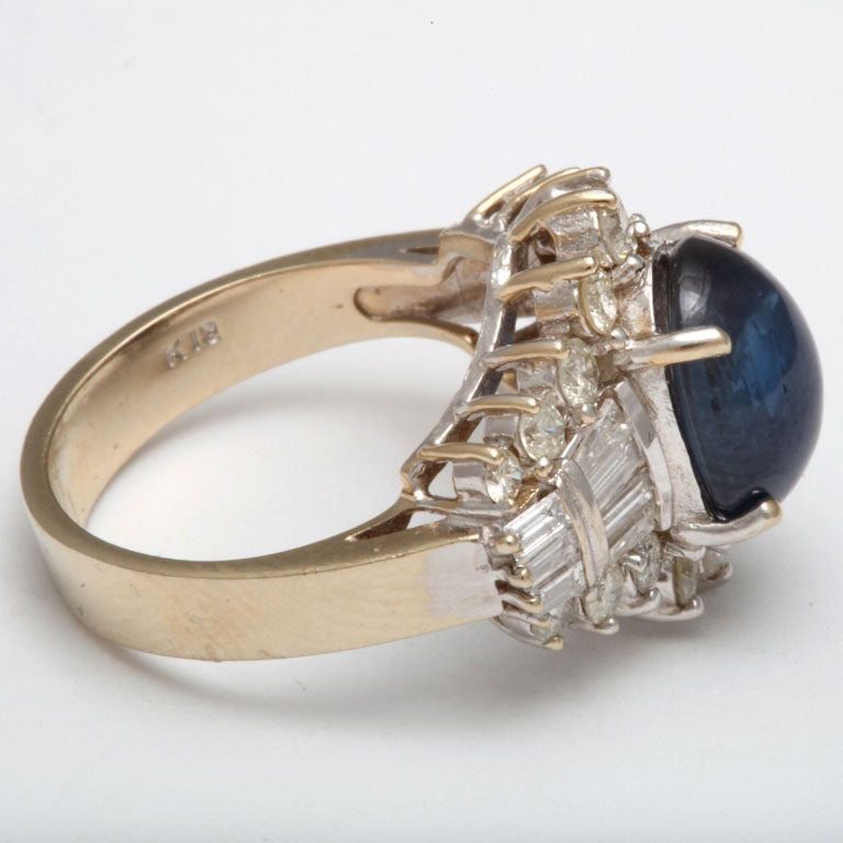 Cabochon Sapphire & Diamond Ring For Sale 1