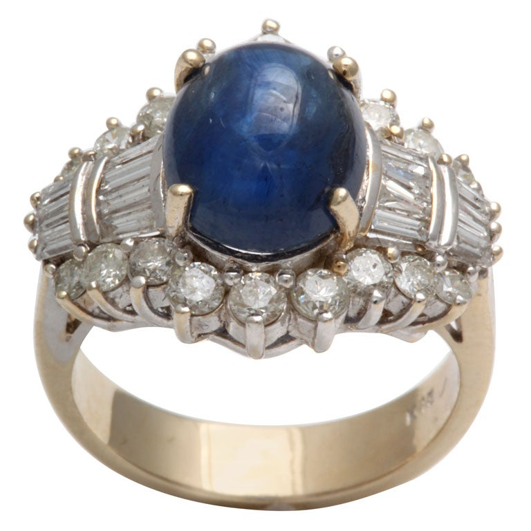 Cabochon Sapphire & Diamond Ring For Sale