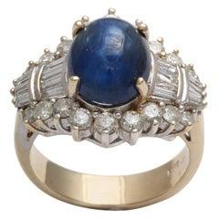 Cabochon Sapphire & Diamond Ring