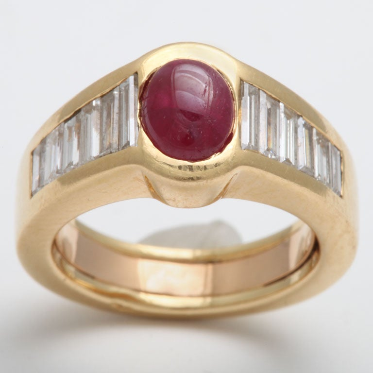 Baguette Cut Oval Ruby & Diamond Baguette Band For Sale