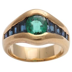 Colorful Faceted Emerald & Calibre Cut Sapphire Ring