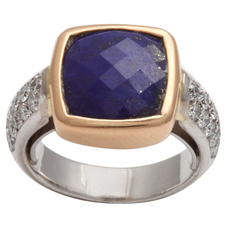 Faceted Lapis & Diamond Ring
