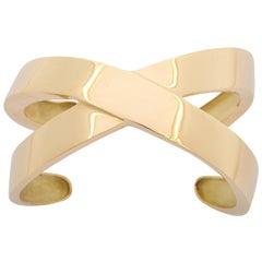 "1980's TIFFANY&CO. Gold ""X"" Cuff Bracelet"