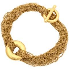 1980's TIFFANY & CO. Gold Mesh Circle Toggle Bracelet