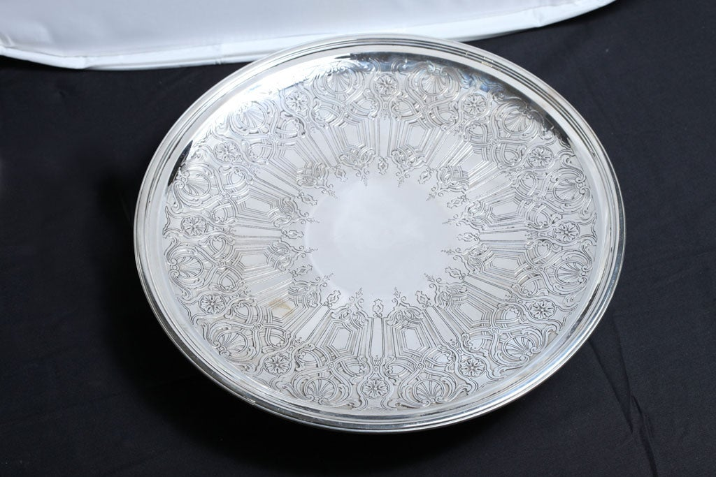American Art Deco Sterling Silver Tiffany and Co.  Pedestal Based Serving Platter For Sale
