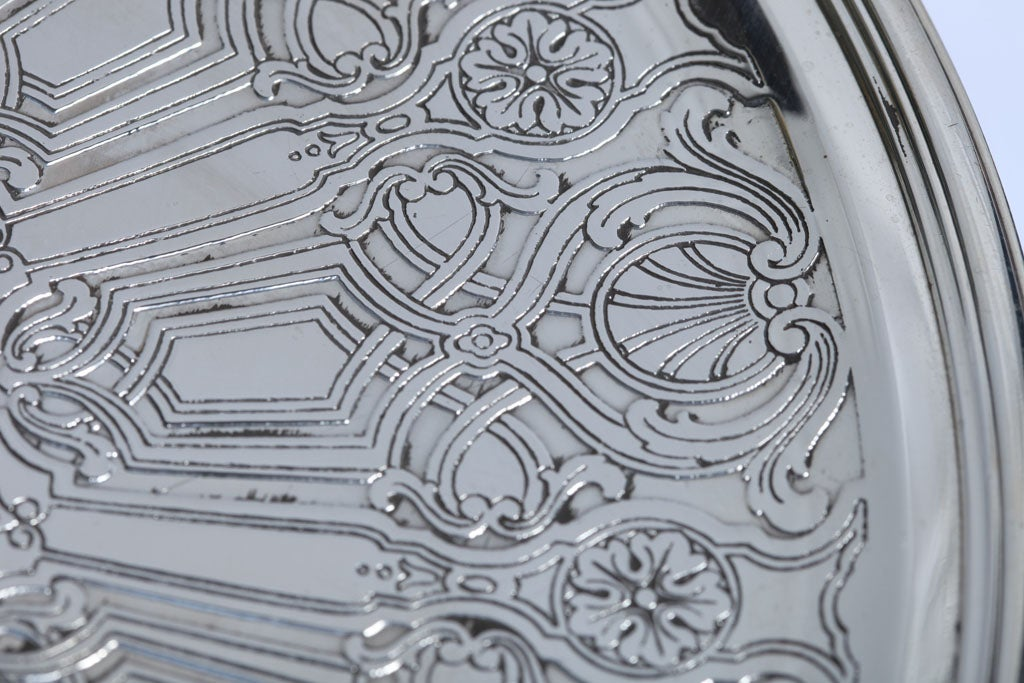Art Deco Sterling Silver Tiffany and Co.  Pedestal Based Serving Platter For Sale 2