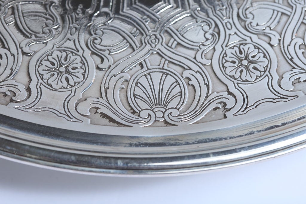 Art Deco Sterling Silver Tiffany and Co.  Pedestal Based Serving Platter For Sale 4