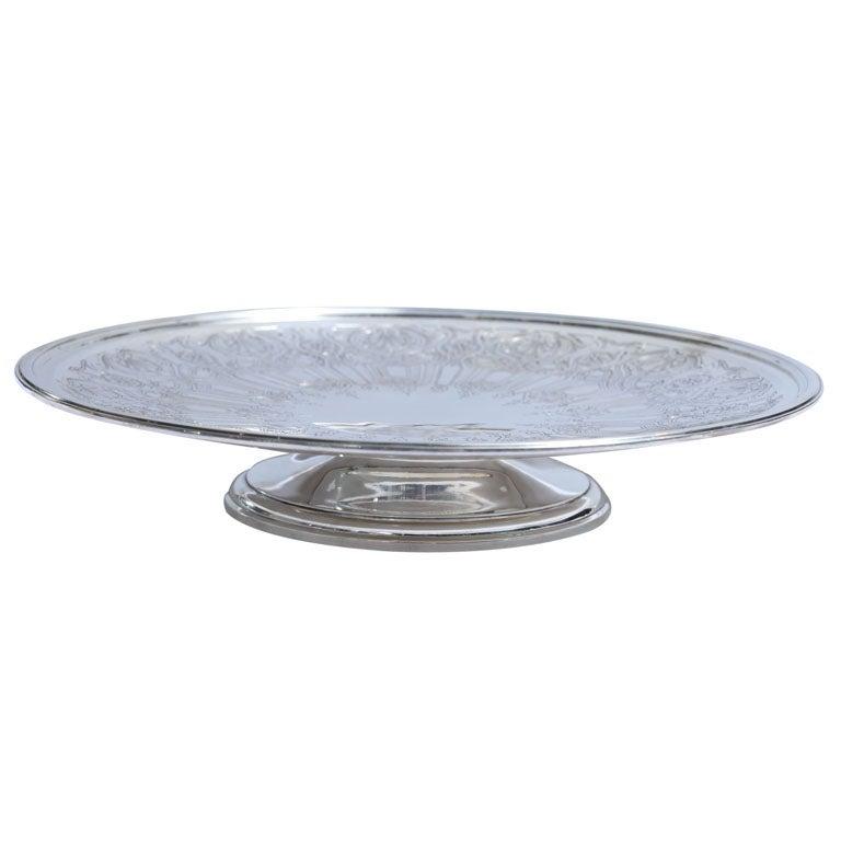 Art Deco Sterling Silver Tiffany and Co.  Pedestal Based Serving Platter