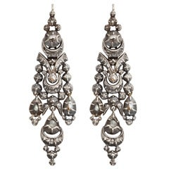 Antique Georgian 19th Century Portuguese Diamond Earrings