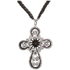 Extraordinary Berlin Iron Long Chain and Cannetile Lace Cross
