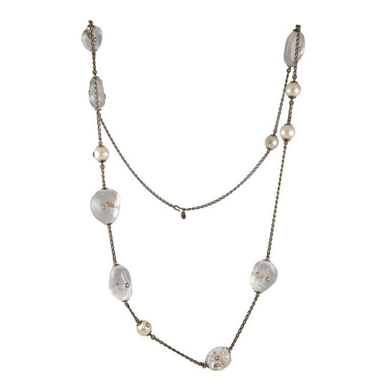 Chanel Rock Crystal and Pearl Sautoir 1