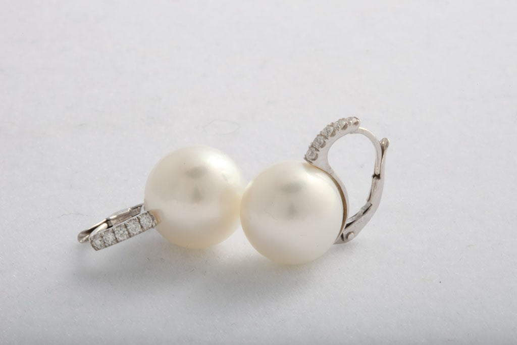 South Sea pearl and diamond earrings 2