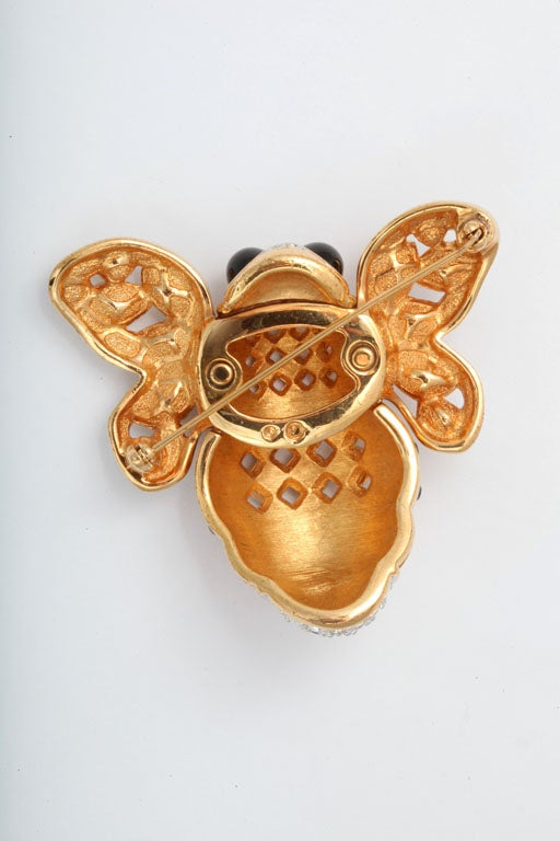Large French Bumble Bee Brooch In Good Condition For Sale In Stamford, CT