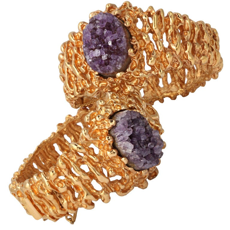 """Pair of Amethyst and """"Gold"""" Panetta Bracelets, Costume Jewelry"""