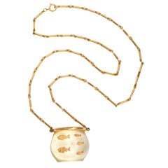 Lucite Bowl of Fish Necklace