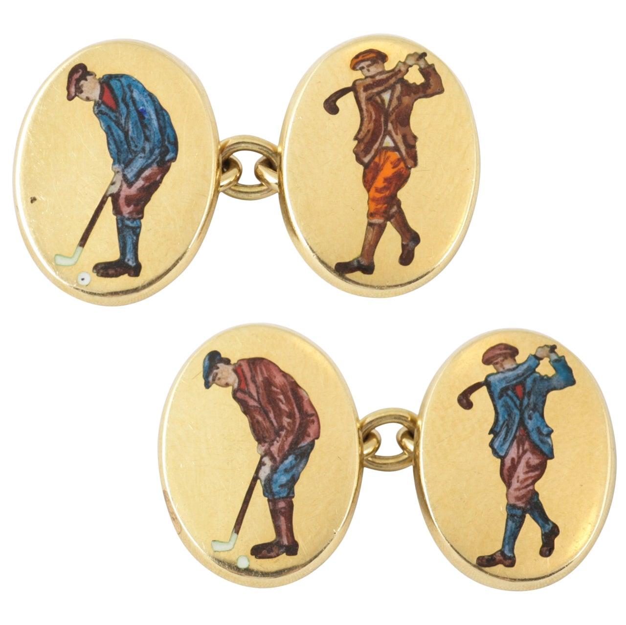english oval gold golfer cufflinks at 1stdibs. Black Bedroom Furniture Sets. Home Design Ideas