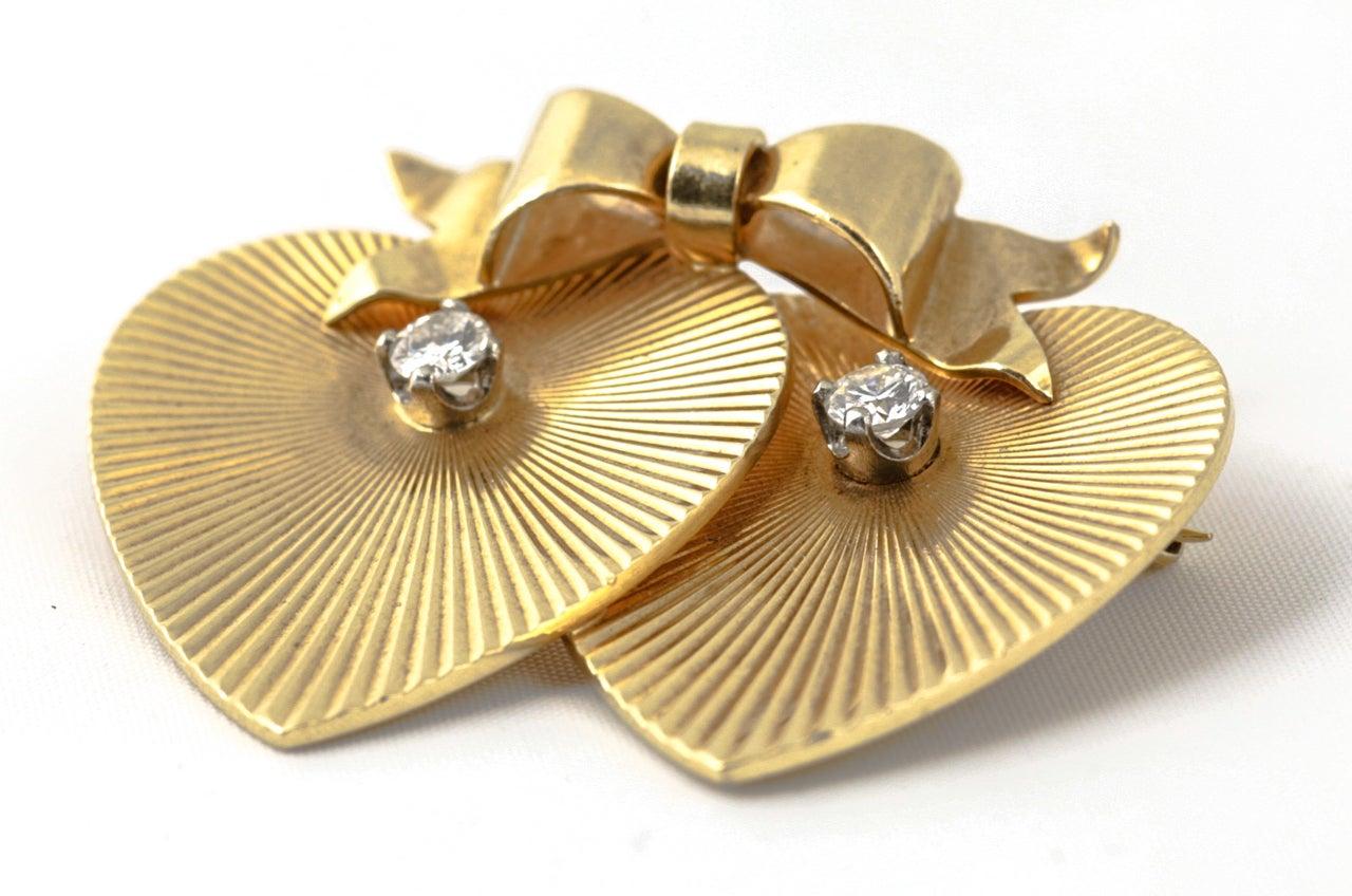 Tiffany & Co. Double Heart Diamond Gold Brooch For Sale 3