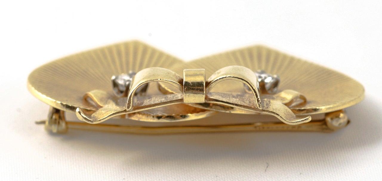 Women's Tiffany & Co. Double Heart Diamond Gold Brooch For Sale