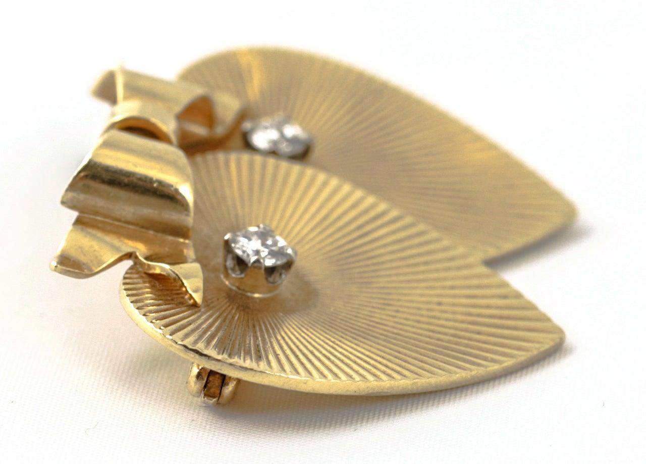 Tiffany & Co. Double Heart Diamond Gold Brooch For Sale 1
