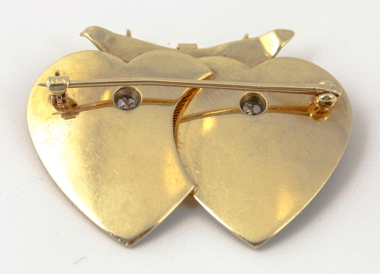Tiffany & Co. Double Heart Diamond Gold Brooch For Sale 2