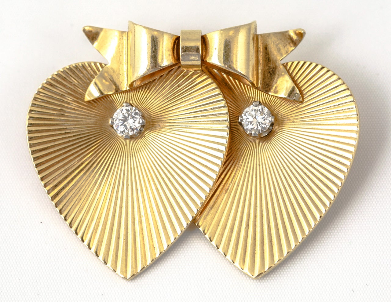 18ct gold Tiffany and Co,double heart brooch with diamonds  C. 1960