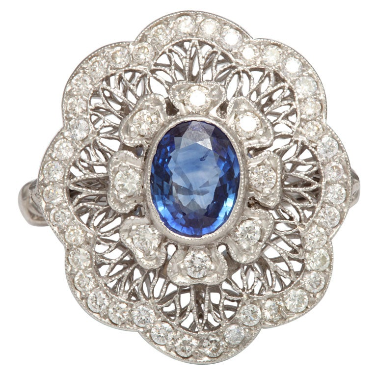 Edwardian Sapphire And Diamond Flower Ring At 1stdibs